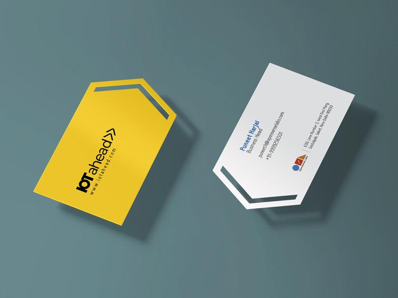 Business Card IOTahead forward arrow yellow business card visiting card icon typography logo branding design minimal