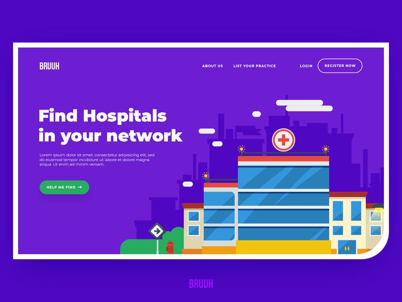 Hospital Finder - Homepage animation branding purple hospital network network hospital finder hospital website flat web minimalism landing page logo illustration homepage redesign ux design ui minimal