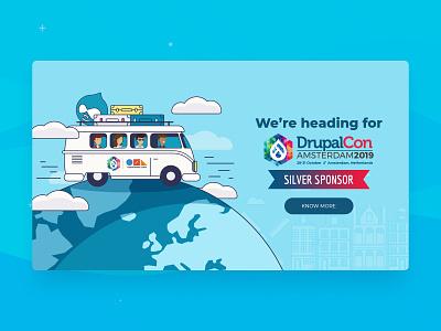 DrupalCon Amsterdam 2019 web vector illustration ui design travel blue sponsor event amsterdam drupalcon drupal