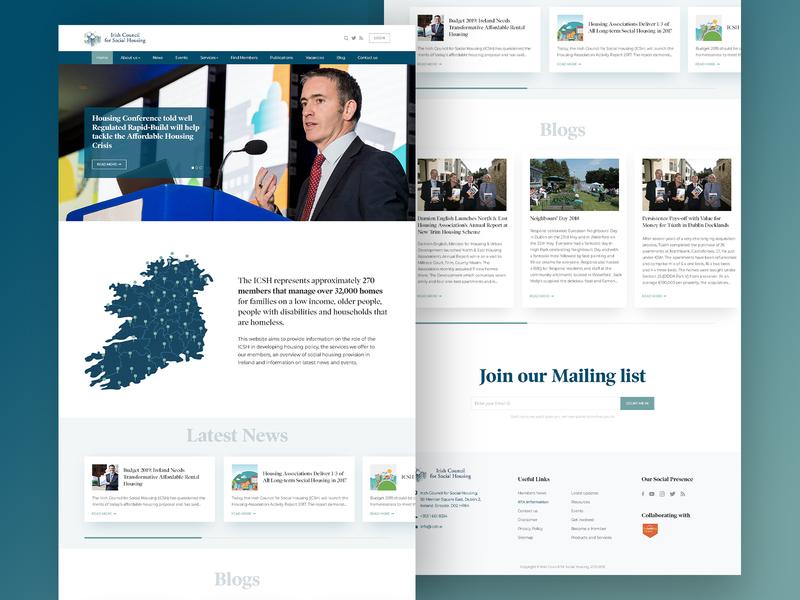ICSH - Irish Council of Social Housing social irish mailing list blogs news rfp flat ux design ui minimal redesign vector typography homepage design website homepage