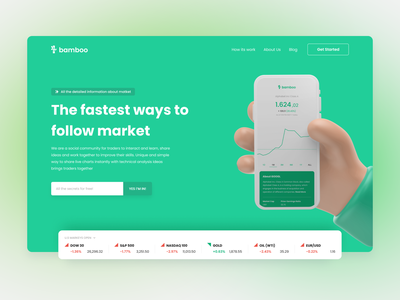 Exploration - Market Community App Landing Page website design ux ui flat design branding stocks trading landing page market