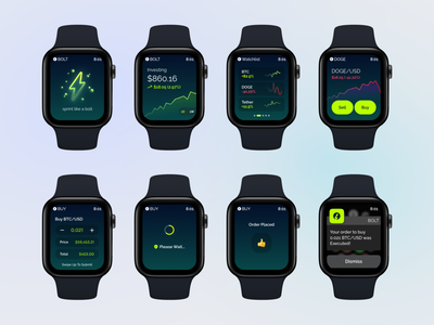 WatchOS Cryptocurrency investment wearable apple watch watchos bitcoin wallet bitcoin cryptocurrency clean minimalist figma design ux ui