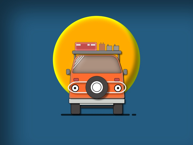 Minibus drive traffic car minibus minimal animation app icon flat illustration vector design