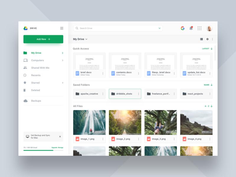Google Drive Redesign cloud googledrive google dashboard appdesign app productdesign webdesign uxdesign uidesign