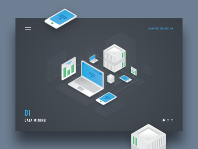 01 Data Mining tech isometric flatdesign illustration graphicdesign webdesign uxdesign uidesign