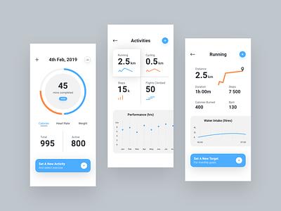 Health App Wireframes v2 exerciseapp healthapp health wireframes dashboard app appdesign productdesign uxdesign uidesign