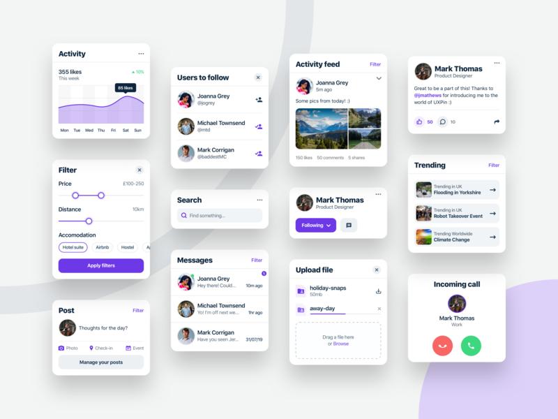Social Components app socialmedia socialcomponents modulardesign components appdesign webdesign productdesign uxdesign uidesign