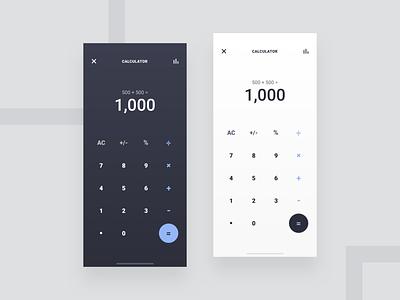 Calculator App: Light & Dark keypad wallet calculator flatdesign dashboard app appdesign productdesign uxdesign uidesign