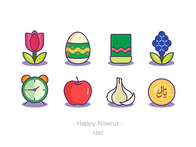Happy Nowruz tulip egg clock coin garlic apple eid spring nowruz design icon