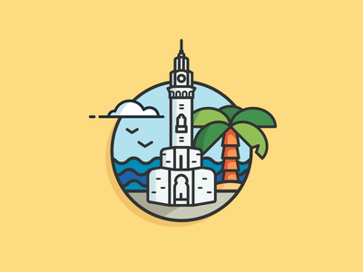 clock Tower - Izmir, Turkey illustrator trend illustration trends turkey izmir ui creative dribbble clean ui vector icon design illustration
