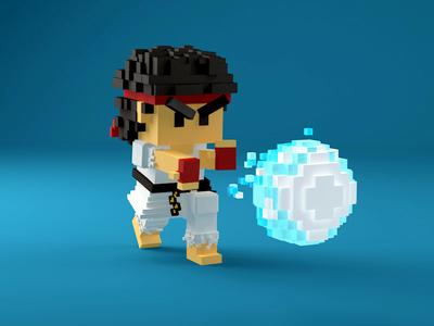 Ryu in 3D pixel