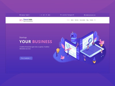 Digital Marketing website Design ui design smartseo minimal design