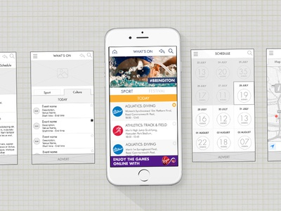 Commonwealth Games 2014 Mobile App - Wireframes ux wireframes