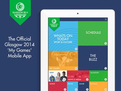 Commonwealth Games 2014 Mobile App - Main Menu bold sport visual ios ipad app mobile