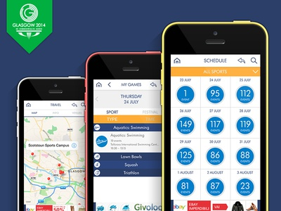 Commonwealth Games 2014 Mobile App - Final Designs sport design visual iphone apps mobile