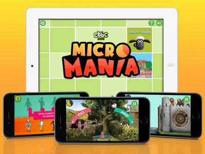 CBBC Mobile App - Micro Mania Game play entertainment kids fun games ipad iphone mobile ui