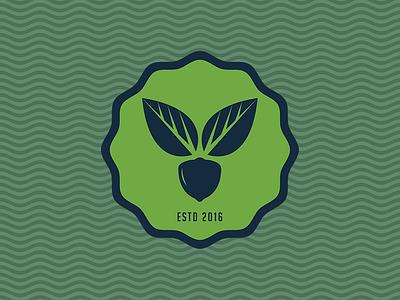 Hazelnut Company organic nature package emblem leaf green proposal branding logo nut hazelnut