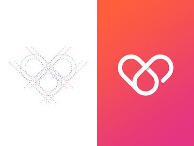 Circle Love heart logomark love logomark sign logomark symbol logo grid art heart circlelove love circle