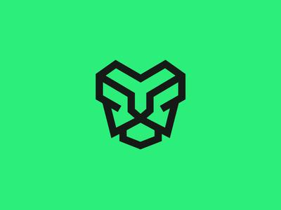 Green Lion monoline stroke line green unused mark icon logo lion