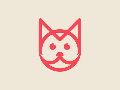 Cat symbol sweet stroke red mark logo identity design cat