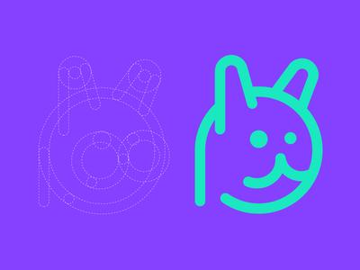 Simple Cat Process minimal guide round unused idea icon build process construction mark logo cat