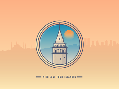 Galata Tower city landmark logo line badge icon silhouette turkey istanbul galata tower galata tower
