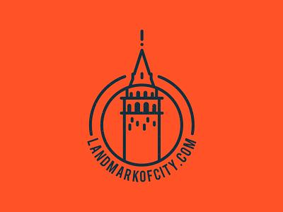 Landmark of City istanbul travel tourism new project orange icon logo badge tower city landmark