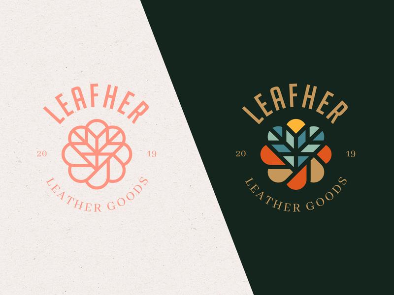 Leafher Leather Goods Brand Concept emblem design emblems emblem logo heart leaf marks abstract emblem illustration simple icon branding symbol identity mark design minimal logo