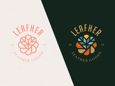 Leafher Leather Goods Brand Concept emblem design emblems emblem logo heart leaf marks abstract emblem illustration simple icon branding symbol identity mark design minimal logo