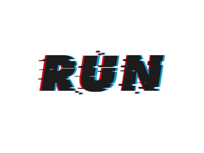 Run logotype running graphic design run lettering futura glitch effect glitch freelance logo design logo