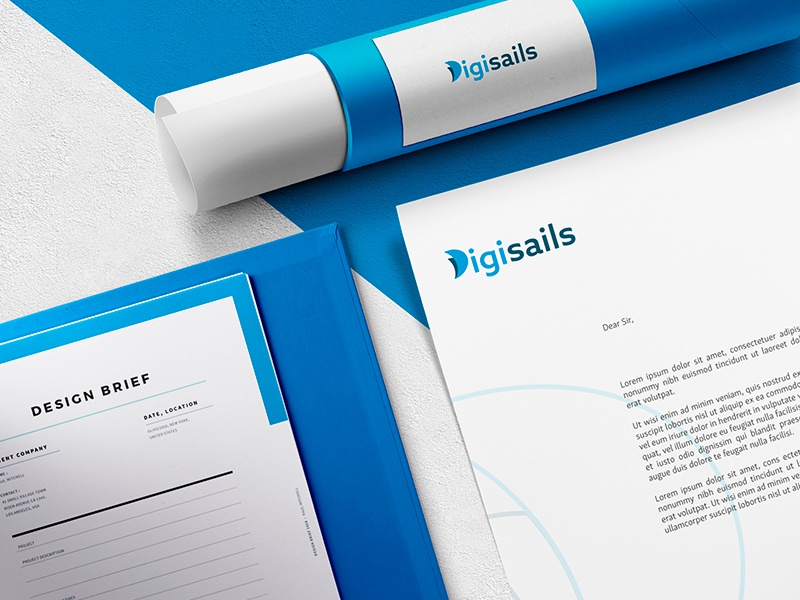Digisails sail logotype logo graphic design digital d stationery branding brand identity brand design