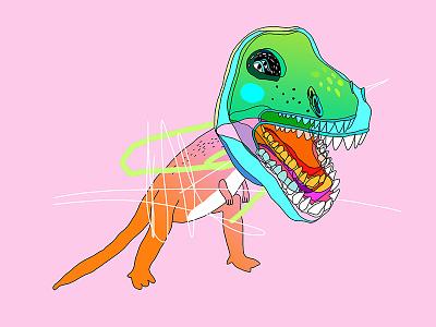 king of the world lowart illustration dinosaur