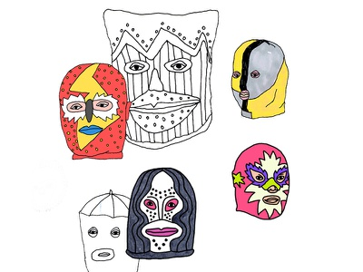 mr. Pipin's faces face sketch drawing illustration mask
