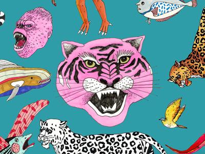 animals lowart illustration fish bird tiger animals
