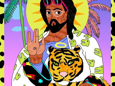 Jesus beach summer tiger jesus