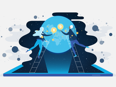 Connecting the World Through Crypto technology planets stars globe space ladder man woman person people phone mobile world connecting connection ethereum bitcoin crypto cryptocurrency