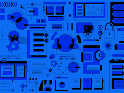 Behind The Product illustration creative qa userops engineering technology tech monochrome blue ethereum brand bitcoin cryptocurrency crypto