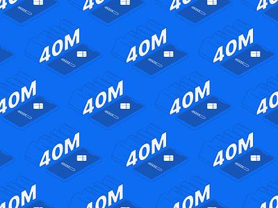 Wallet Milestone design illustration blue monochromatic pattern million 40 blockchain password isometric phone cryptocurrency crypto wallet