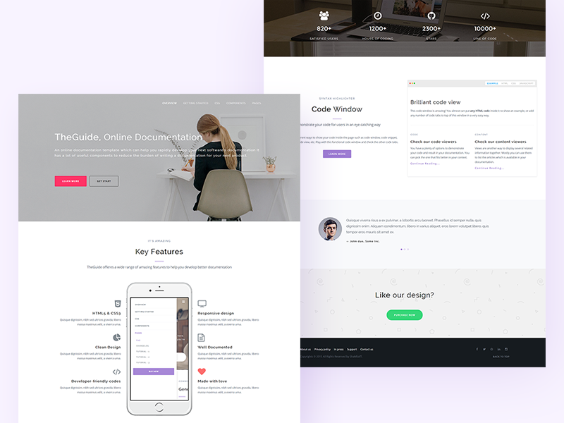 TheGuide Online Documentation Template Landing Page By TheThemeio - Online documentation template