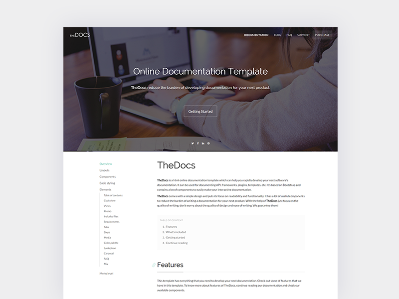 Thedocs Online Documentation Template By Thetheme Io Dribbble
