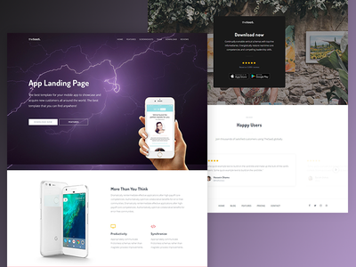 Mobile app landing - TheSaaS thesaas startup software design product page landing app mobile