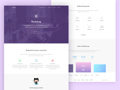 Bootstrap landing page redesign webapp thesaas startup software redesign product page landing framework bootstrap