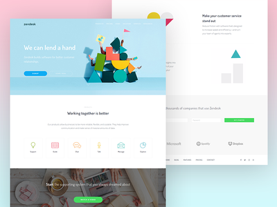 Zendesk landing page redesign webapp thesaas startup software redesign product page landing zendesk