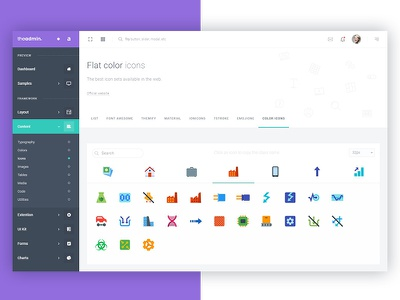 Colorful Icons - TheAdmin webapp uikit startup saas panel colorful framework icon dashboard bootstrap4 application admin