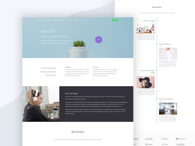 About Us page saas software webapp startup business bootstrap template portfolio css html thesaas
