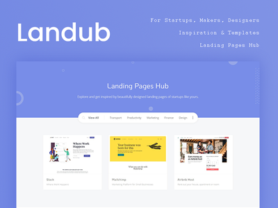 Landub.com — Landing Pages Hub directory listing websites portfolio inspiration landing page ui bootstrap page design landing thesaas startup