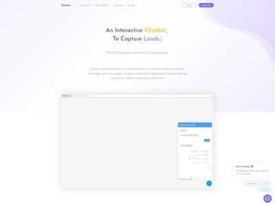 Landing Page for Chatbot Builder — Formito chatbot one pager one page design landing page template bootstrap landing webapp page saas startup