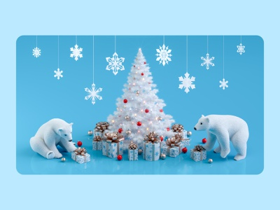 Christmas Tree with cute Polar Bears 🐻‍❄️ cgi octane design artist illustrations 3dillustration 3dart 3dartist 3d octanerender cinema4d c4d maxon snowflake polarbear christmaslights christmascards christmastree