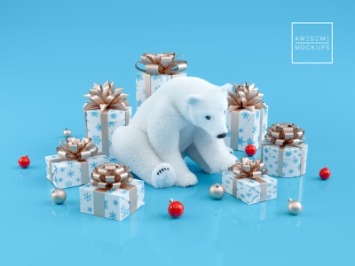 Cute Polar Bear with Gift Boxes 🐻🎁 illustration 3d illustration cgi 3d art octanerender octane cinema 4d cinema4d c4d 3d