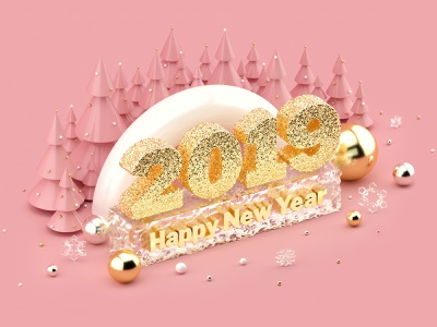 Happy New Year 2019 Dribbble millennial pink rose gold creative market illustration 3d illustration 3dartist 3dart christmas 3d art cgi cinema 4d cinema4d c4d 3d